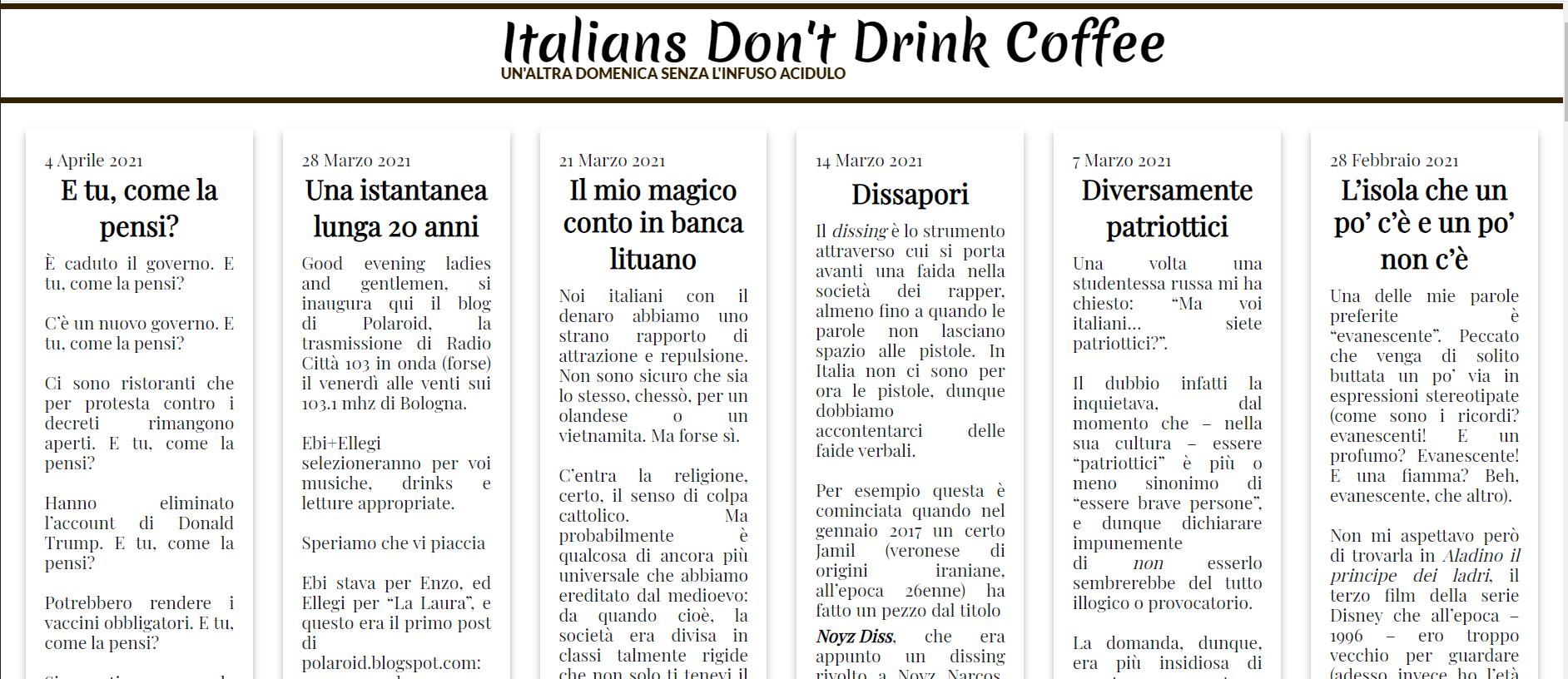 Italians Don't Drink Coffee: la blogletter della domenica
